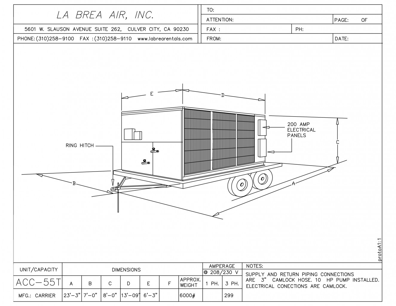 55 Ton Temporary Air Cooled Chiller Rental La Brea Air